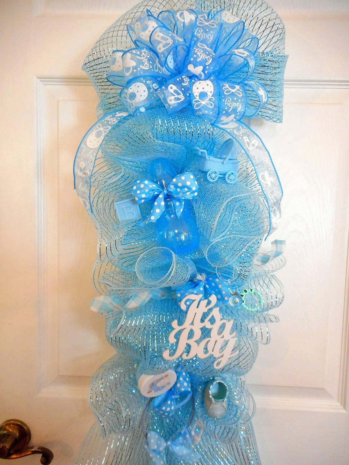 Baby Boy Deco Mesh Wreaths It S A Boy Welcome Home Swag Baby