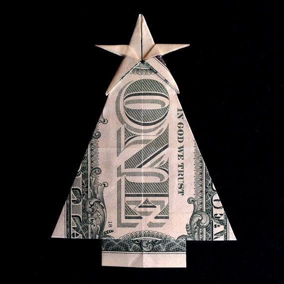 Real One Dollar Bill Origami Art Miniature Christmas Tree With Star