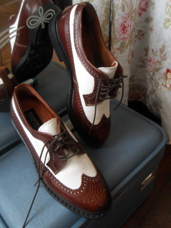 vintage LEATHER Classic Wing Tip Spectator Oxfords * Ladies Size 7.5 (Elaine Bennis style)  $54.00