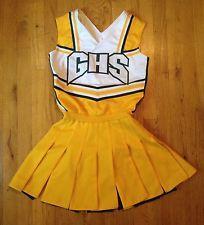 63e6454f772 Vintage Greenwood Indiana Pleated Cheerleader Uniform Yellow White Green Sz  S-M