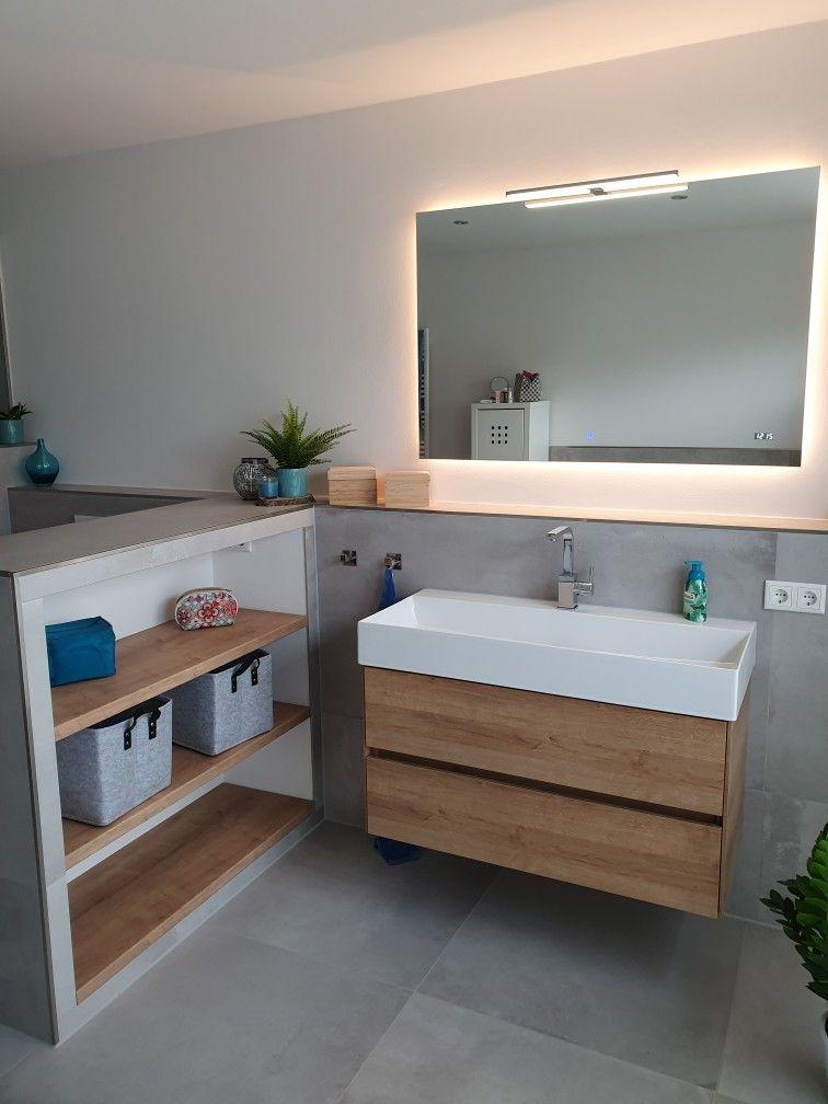 Badezimmer Spiegel Beleuchtet Waschbecken Unterschrank Regal Trockenbau Gefliest Badezimmer Trockenbau Bad Trockenbau Regal