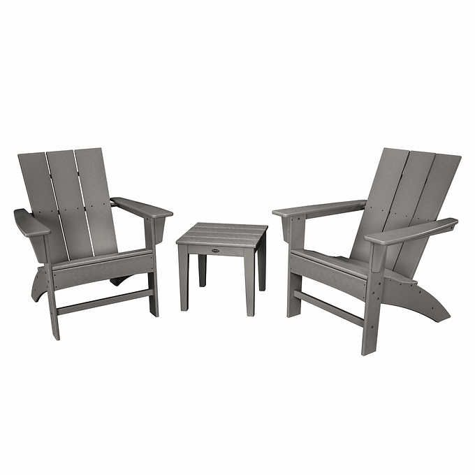 Prescott 3 Piece Adirondack Set By Polywood Contemporary