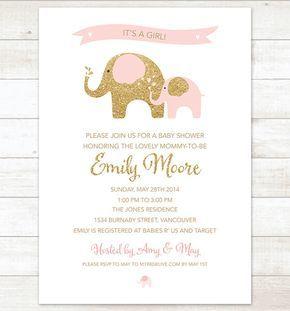 Pink and gold elephant baby girl shower invitation pink gold glitter pink and gold elephant baby girl shower invitation pink gold glitter elephants shower invite printable modern filmwisefo