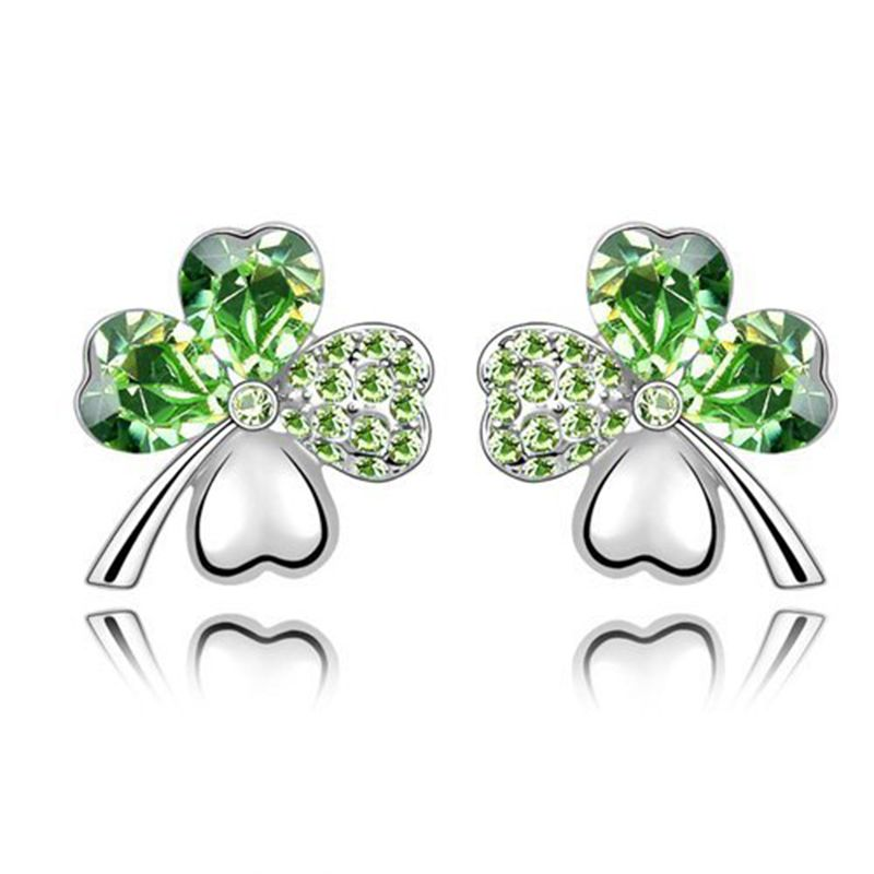 0e915cfe6f52cd Swarovski Elements Green Crystal Four Leaf Clover Love Heart Silver Plated  Earring