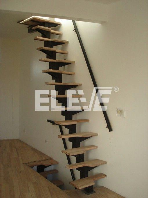 Escalera de pasos alternados en un tramo con eje central for Escalera un tramo