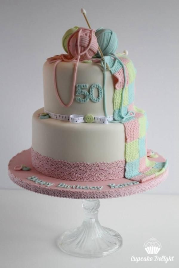 Knitting Themed Birthday Cake Cake By Cupcake Delight Cakes In