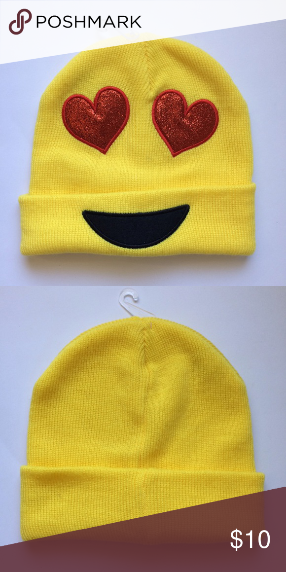 Emoji Winter Hat New Without Tags One Size Acrylic Heart Eyes So Cute Accessories Hats Fashion Design Accessories Hats Clothes Design