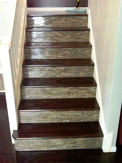 Custom Tile Wood Stairs And Wood Floor Wood Stairs Stairs | Wood Stairs With Tile Risers | Grey | Diy | Design | Mosaic | Stone