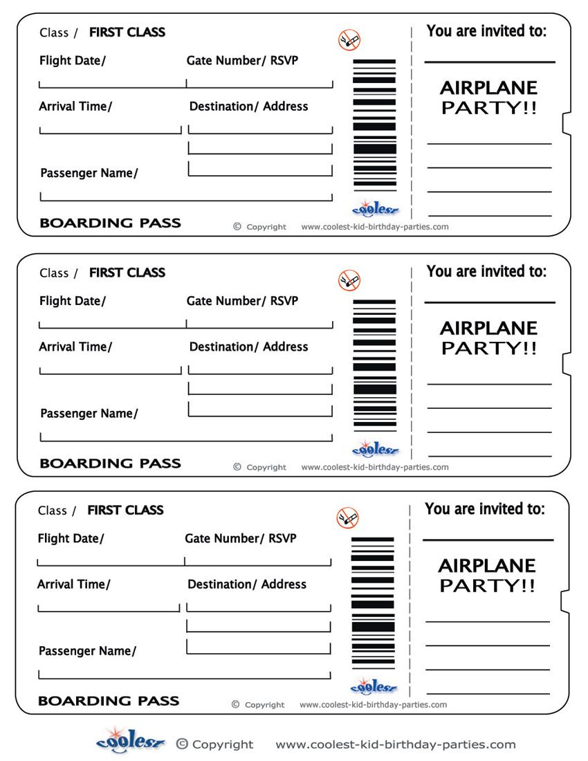 Blank Printable Airplane Boarding Pass Invitations Coolest Free – Plane Ticket Template