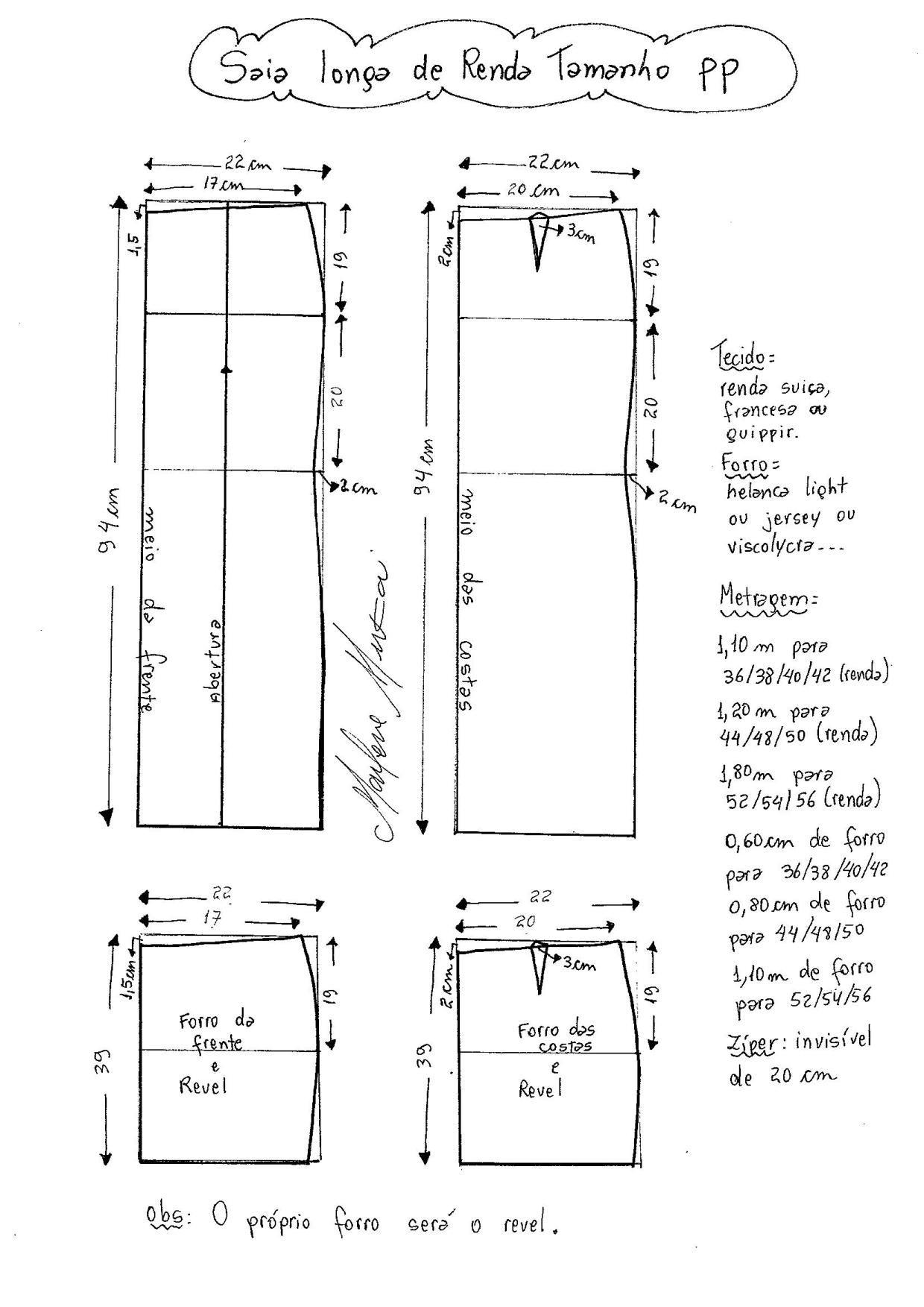 Saia Longa de Renda | saias | Pinterest | Trazos, Costura y Molde