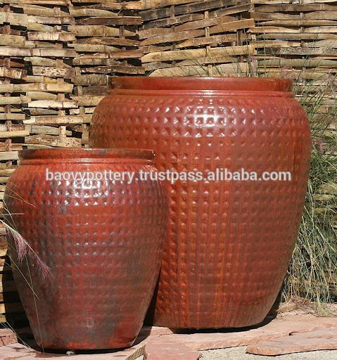 Outdoor Garden Pots | Tall Big Round Glazed Outdoor Ceramic Pots, Large  Garden Pots,