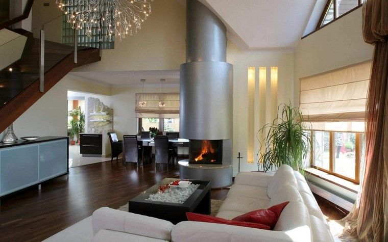 chimenea moderna acero sofa blanca mesa madera ideas Interiores - chimeneas interiores