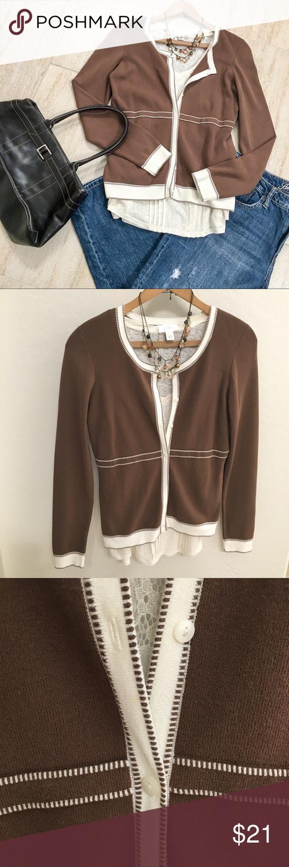 LOFT Brown Long Sleeve Cardigan