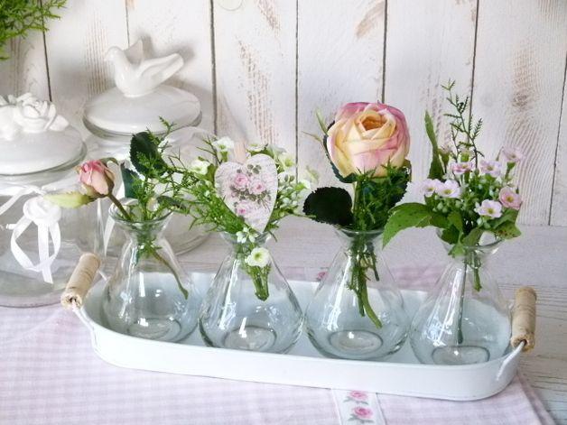 Blumentopfe Vasen Tischdeko Blechtablett Rosalie Ein