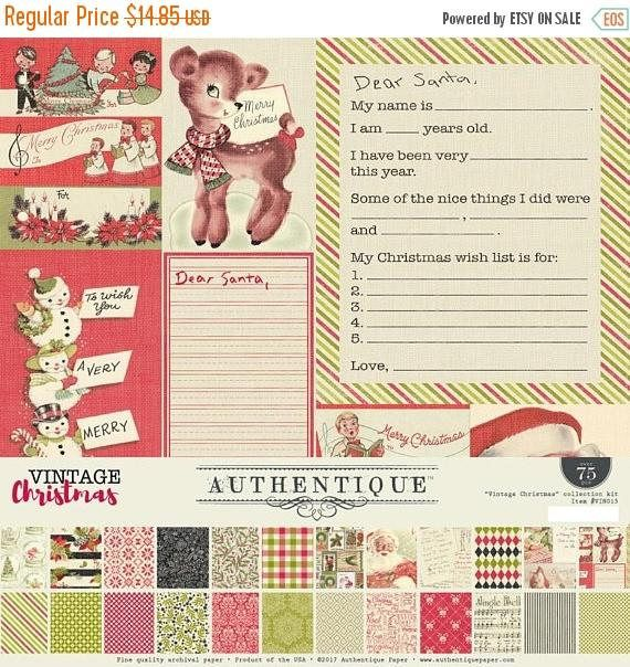 WHOOPEE Authentique Vintage Christmas 12x12 Paper Collection - christmas wish list paper