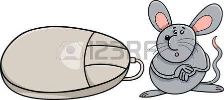 souris cartoon: Humour Cartoon Illustration de souris drôle de rongeurs et souris d'ordinateur Illustration