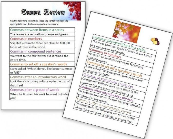 Grammar Worksheets Comma Rules Printables Pinterest Grammar