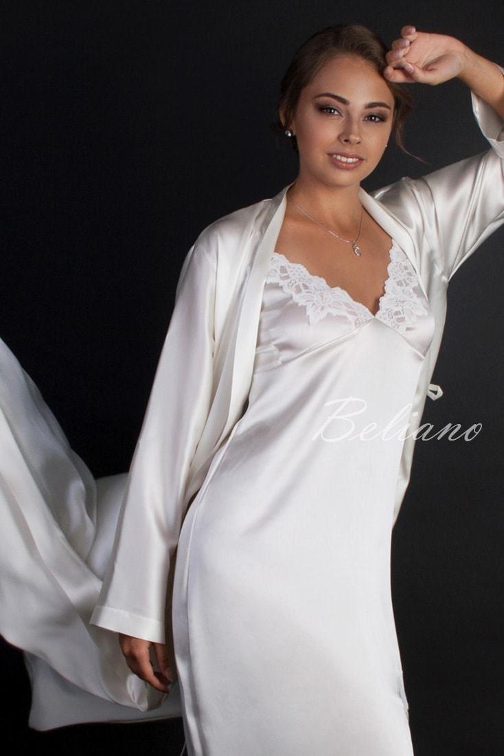 a03aa767803fbea Длинная комбинация (ночная сорочка) из натурального шелка, шелковая  ночнушка длинная кремового цвета, купить в Киеве, фото