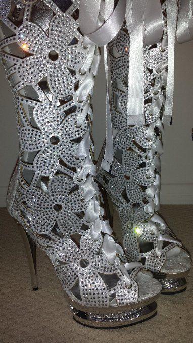 Lady Couture FANTASTIC Lace Up Platform Stiletto White Boots