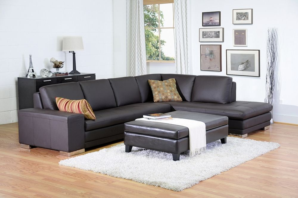Callidora Brown Leather Sectional Sofa With Right Facing Chaise | Affordable  Modern Furniture In Chicago