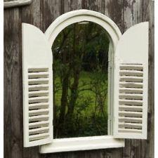 Aged Vintage Outdoor Garden Mirror Distressed Decorative White Wooden Shutters