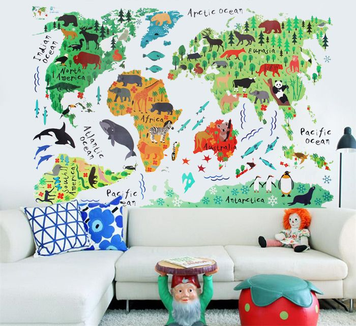17 cool ideas for world map wall art walls small space wall sticker gumiabroncs Choice Image
