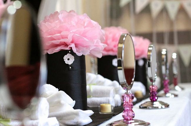 spa party jadelyn is 10 pink flower centerpieces spa