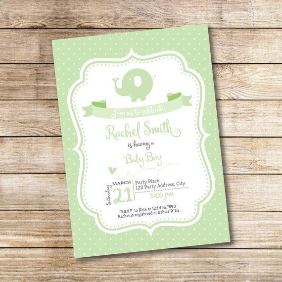 Elephant Baby Shower Invitation  Green Elephant by BashDesigns15