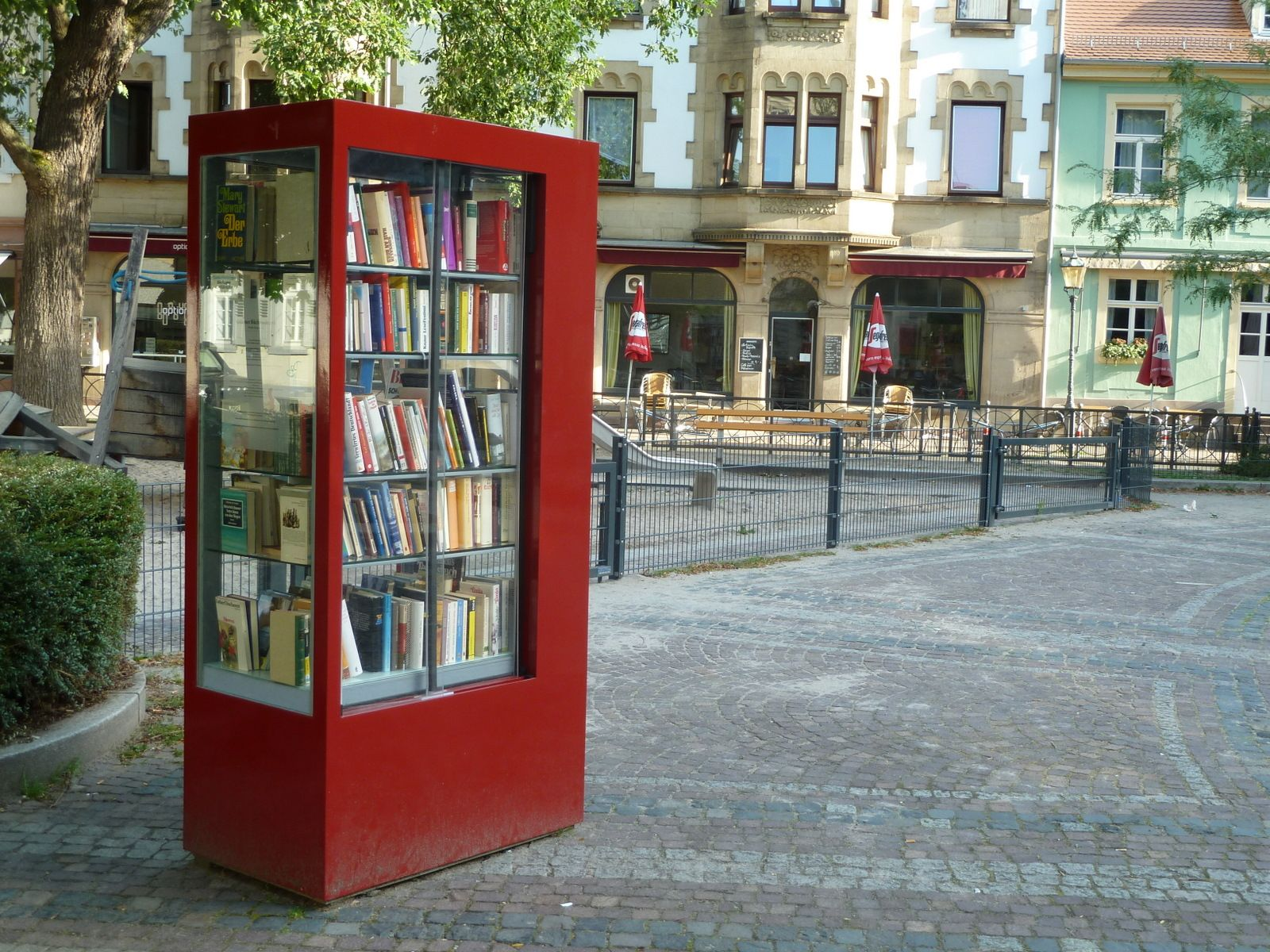 German Public Bookshelf Red Paint Sure Makes It Stand Out