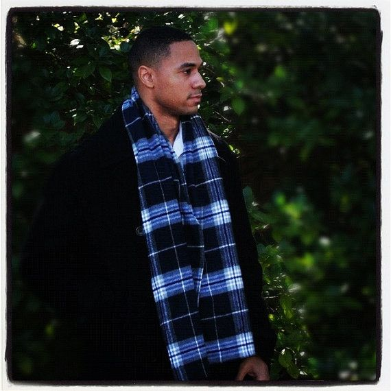Men's Blue Winter scarf in plaid by AronaDesigns on Etsy, $20.00