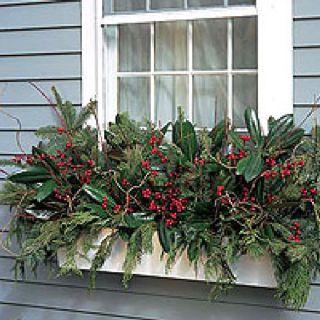 Holiday Flower Box Christmas Window Boxes Window Box Flowers Winter Planter