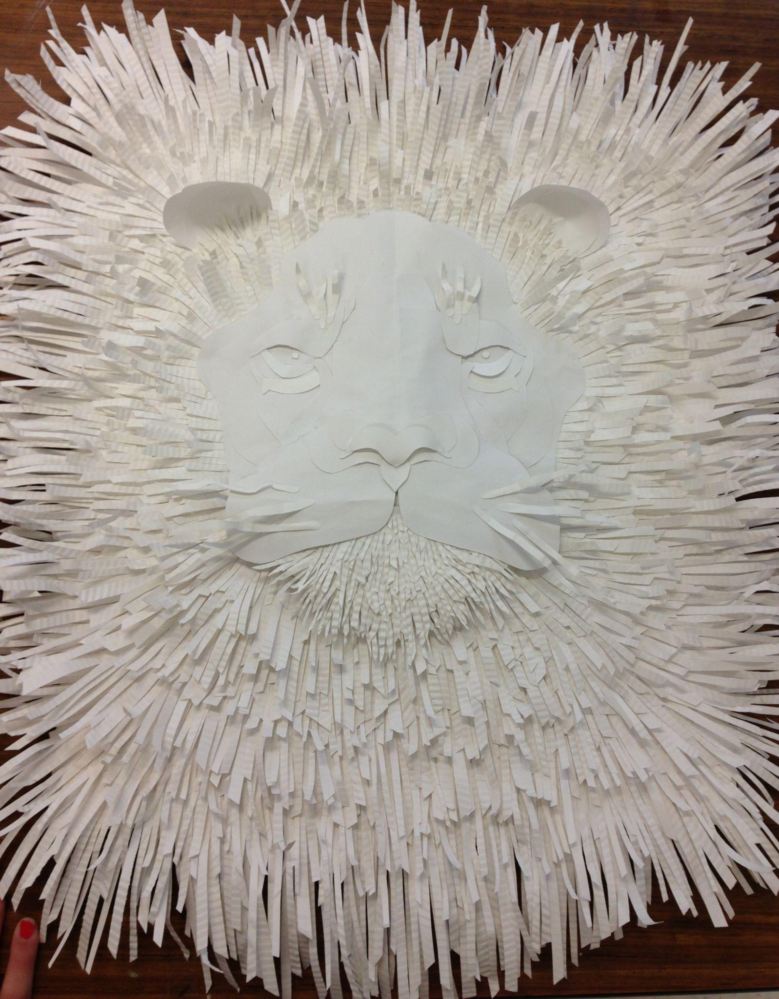 Art Lion Sculpture White on White Crazy Vote  http://www.mymajors.com/blog/creativeoutlook/2013-cover-contest/paper-lion-sculpture/