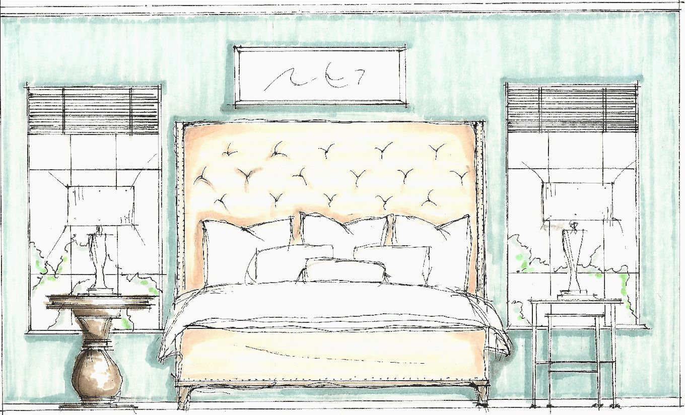 Bedroom drawing with color - Bedroom Idea Drawing Design Sketches Bedroom Sketch