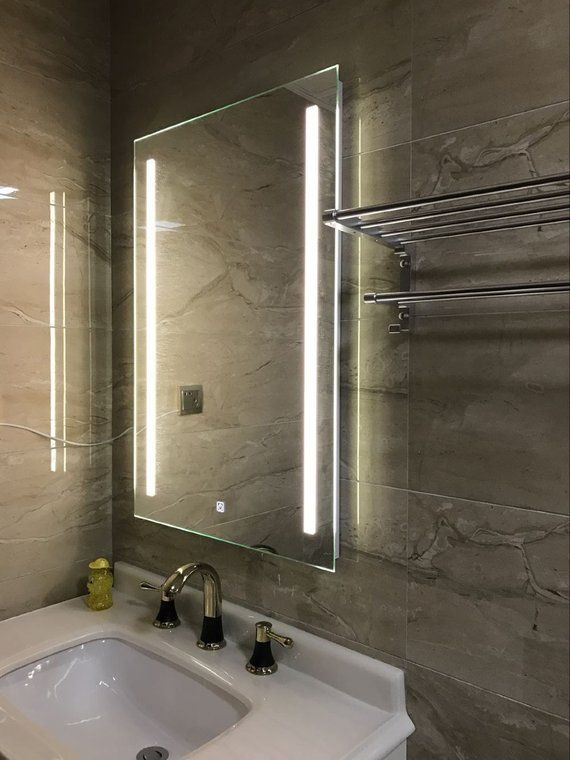 Diyhd Wall Mount Led Lighted Bathroom Mirror Vanity Defogger 2 Vertical Lights Rectangular Touch Lig