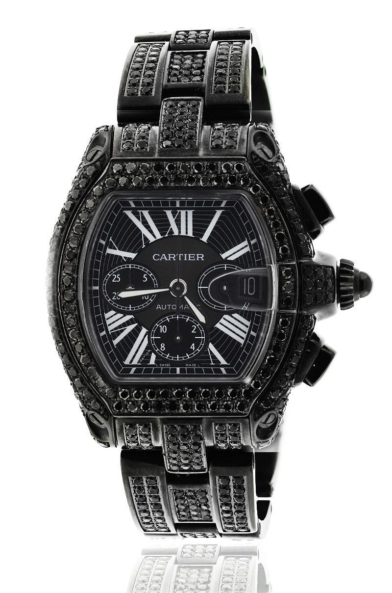 Black Diamond Cartier Roadster Xl Chronograph Stainless Steel Automatic Watch Relogios