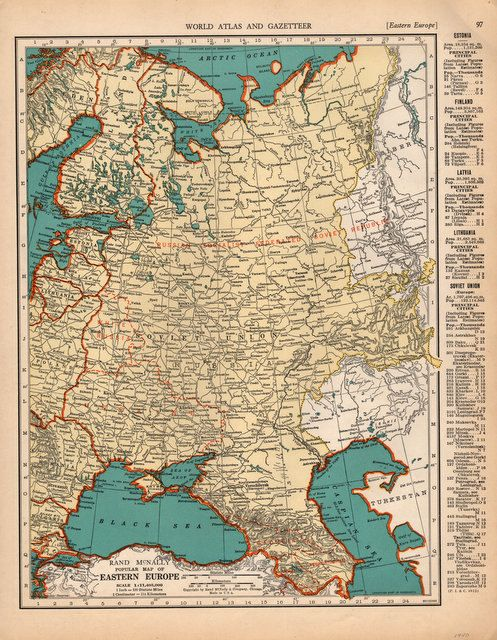 Beautiful 1940 Detailed map of Eastern Europe vintage print for