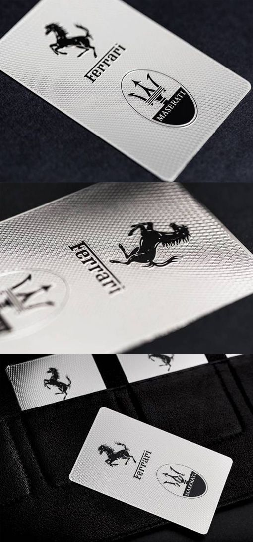 Stylish laser etched embossed and screen printed metal business card stylish laser etched embossed and screen printed metal business card for ferrari reheart Image collections