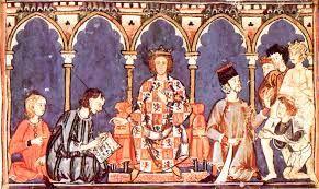 Aquí se ve a un rey y a un hombre escribiendo algún escrito que le dictaba su rey.