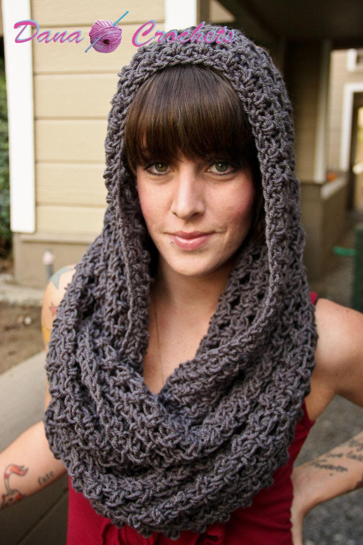 Chunky Hooded Infinity Scarf / cowl Crochet by DanaMarieCrochets ...