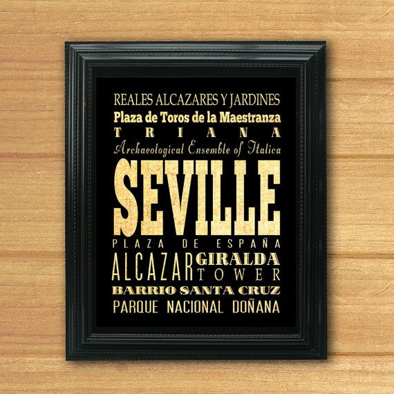 Seville Spain Typography Art by LegacyHouseArt on Etsy, $19.95