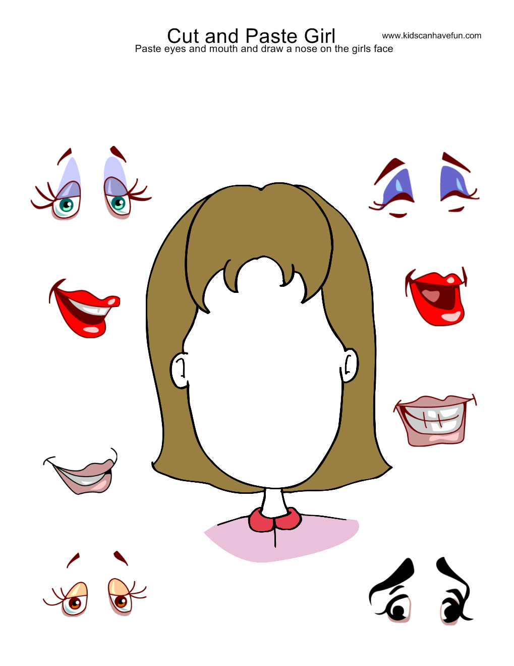 Cut and Paste Girl Face Activity – Kindergarten Worksheets Cut and Paste