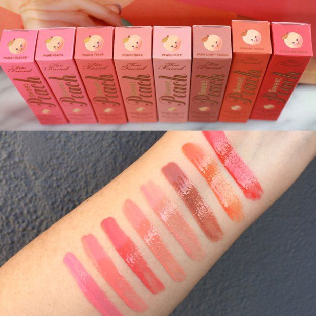 Too Faced Sweet Peach Lip Gloss Swatches #tfsweetpeach @toofaced