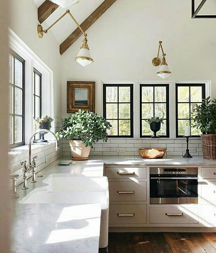 Loving this fabulous kitchen filled with natural light awesome windows white benchtops great ceiling beams  fantastic fixtures also julie on instagram  cjean jeanstofferdesign said it best nlight rh pinterest