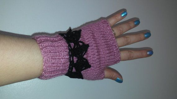 SALE Lilac hand knitted Fingerless Gloves crochet Wrist side knitted mittens #Handmade #WinterGloves