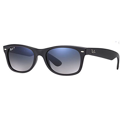 Amazon Com Ray Ban Rb2132 New Wayfarer Sunglasses 52 Mm Matte Black Frame Blue Grey Polarized Le Wayfarer Sunglasses Ray Ban Sunglasses Wayfarer New Wayfarer