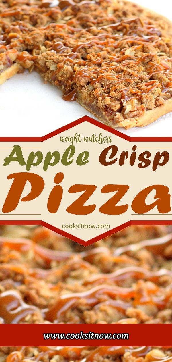 Apple Crisp Pizza, is one of my favorite desserts. #pizza #apple #dessertfoodrecipes #applecrisp