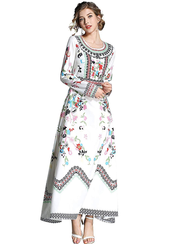 5e93b0ebdf2 Women s Elegant Paisley Print Long Sleeves Casual A-line Long Maxi Sundress  at Amazon Women s Clothing store