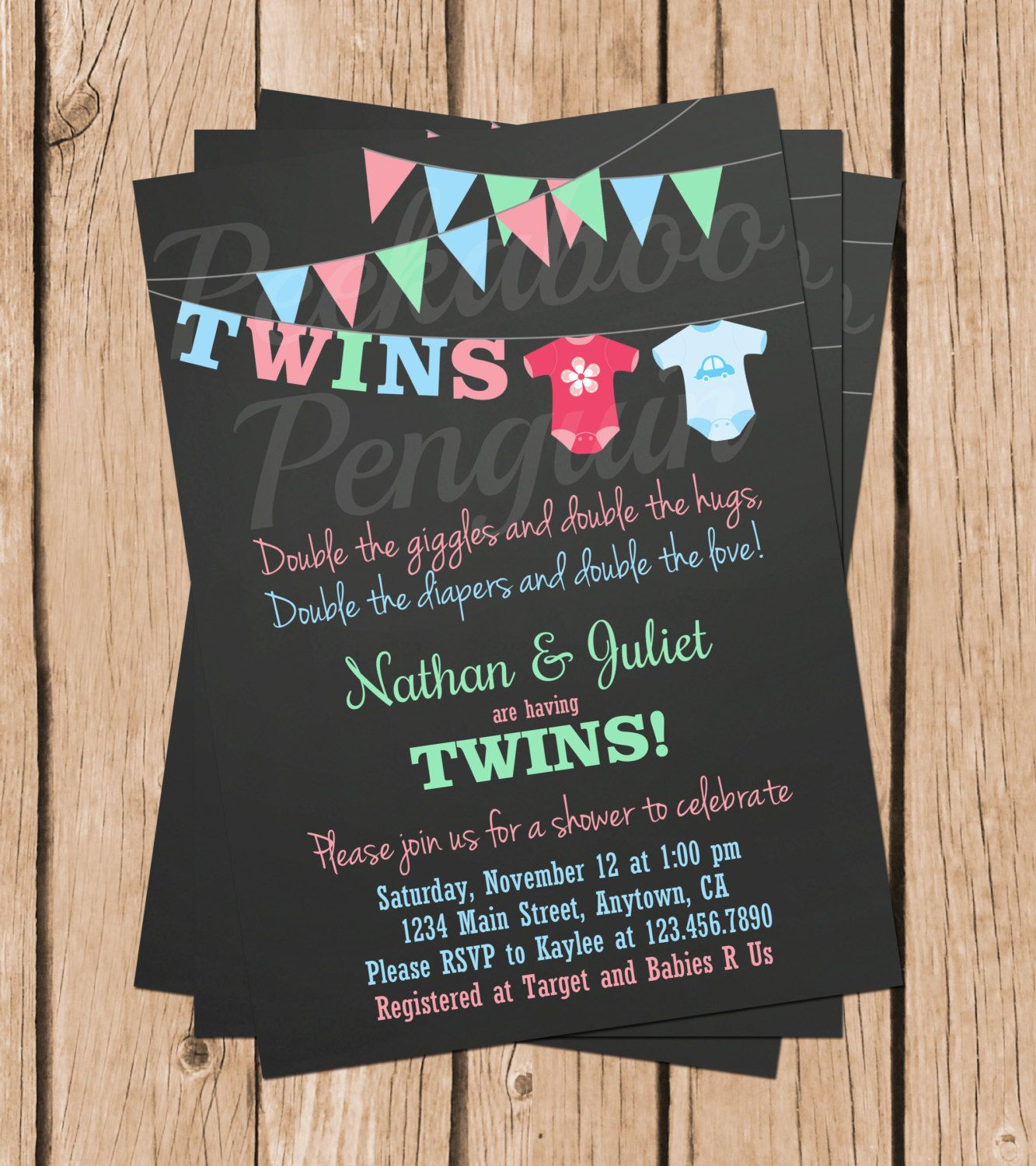 Twins Baby Shower Invitations, Boy Girl Twins Shower, Couples Shower ...