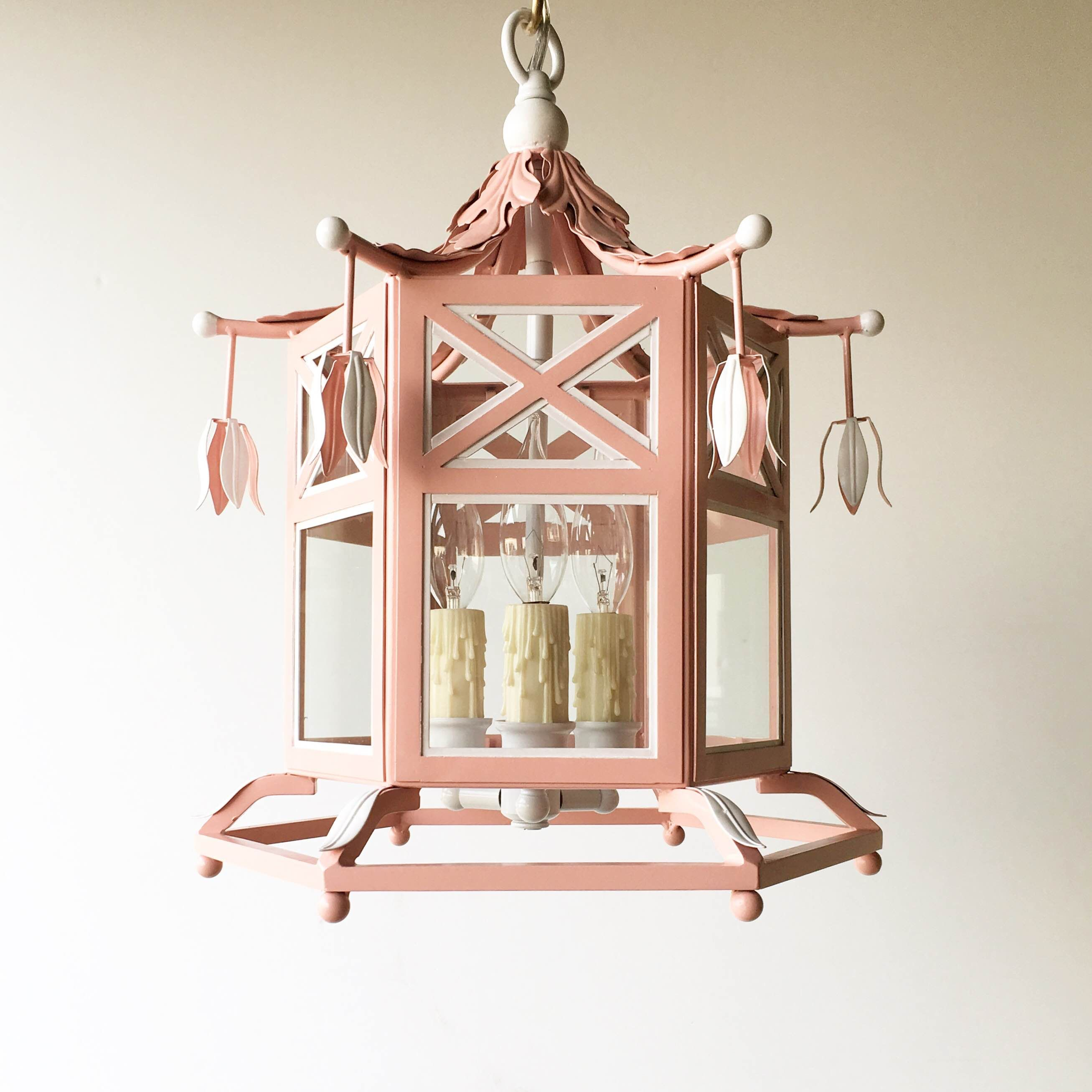 Small audrey lantern in custom pink and white by coleen and company house arubaitofo Choice Image