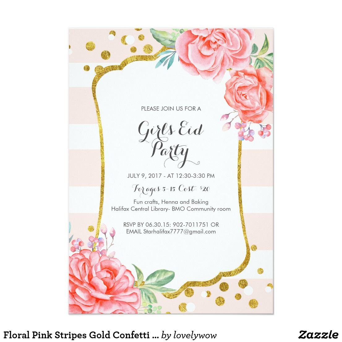 Floral Pink Stripes Gold Confetti Baby Shower Card | Cake